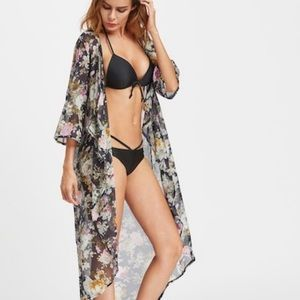 New! Floral Open Cover Up